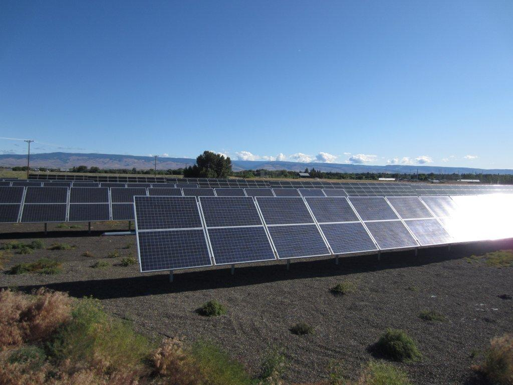 Solar power being generated in Ellensburg, Washington
